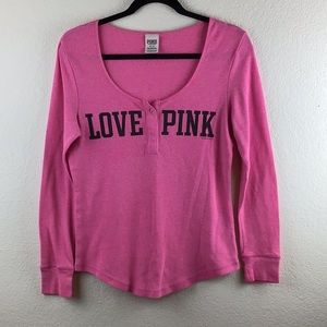 Pink Victoria Secret Long Sleeve Thermo PJ Top